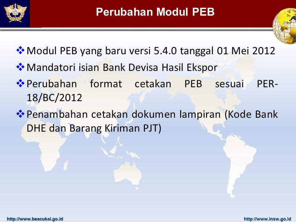 http://www.beacukai.go.idhttp://www.insw.go.id Hal-hal yang harus dilakukan oleh Eksportir/PPJK  Melakukan update Modul PEB  Modul PEB baru versi 5.4.0 tanggal 01 Mei 2012  Mengetahui identitas atau data Bank Devisa Tempat Penerimaan DHE sbg akibat transaksi perdagangan (ekspor)  Bank Devisa Penerima DHE