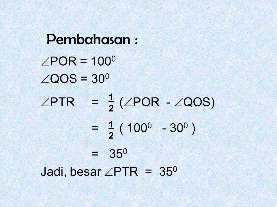 Pembahasan :  POR = 100 0  QOS = 30 0  PTR = (  POR -  QOS) = ( 100 0 - 30 0 ) = 35 0 Jadi, besar  PTR = 35 0 1212 1212