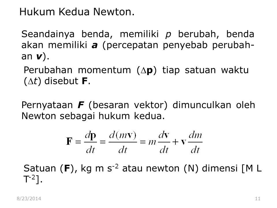 8/23/201411 Seandainya benda, memiliki p berubah, benda akan memiliki a (percepatan penyebab perubah- an v).