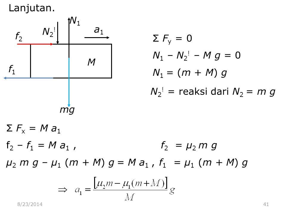 8/23/201441 Lanjutan. mg M N2!N2. N1N1 a1a1 f1f1 f2f2 N 2 .