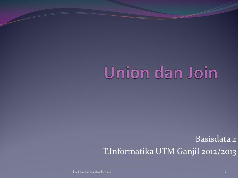 Union Penggabungan dua atau lebih ekspresi tabel hasil SQL ke dalam satu ekspresi Sintaks: ::= { | ( ) | } [ ] ::= ::= UNION | UNION DISTINCT | UNION ALL Fika Hastarita Rachman2