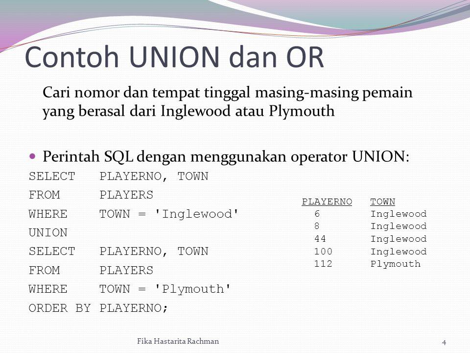 Secara otomtis UNION bekerja = kerja DISTINCT Buatlah daftar dari nomor pemain yang telah melakukan penalti setidaknya sebanyak 1 kali, atau pemain yang menjadi kapten tim atau pemain yang memenuhi kedua kondisi tersebut.