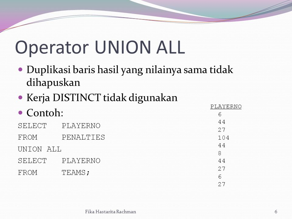 Operator UNION ALL Duplikasi baris hasil yang nilainya sama tidak dihapuskan Kerja DISTINCT tidak digunakan Contoh: SELECT PLAYERNO FROM PENALTIES UNION ALL SELECT PLAYERNO FROM TEAMS; Fika Hastarita Rachman6 PLAYERNO 6 44 27 104 44 8 44 27 6 27