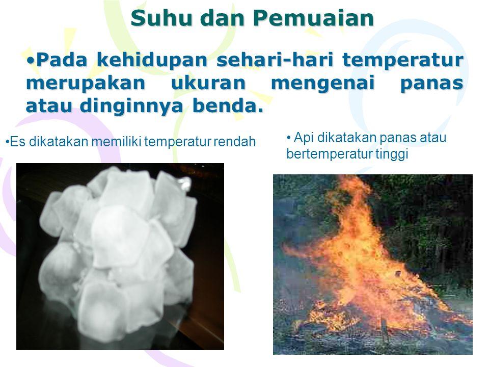 2 Suhu dan Pemuaian Pada kehidupan sehari-hari temperatur merupakan ukuran mengenai panas atau dinginnya benda.Pada kehidupan sehari-hari temperatur m