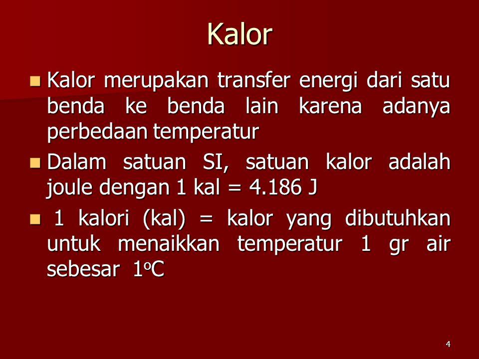 4 Kalor Kalor merupakan transfer energi dari satu benda ke benda lain karena adanya perbedaan temperatur Kalor merupakan transfer energi dari satu ben