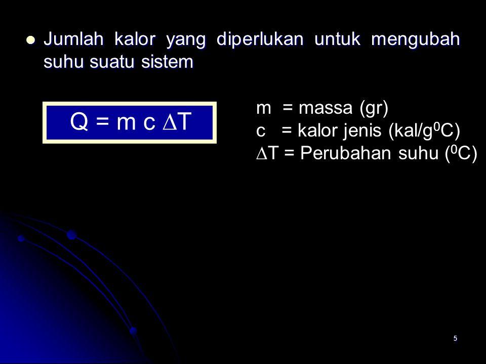 5 Jumlah kalor yang diperlukan untuk mengubah suhu suatu sistem Jumlah kalor yang diperlukan untuk mengubah suhu suatu sistem Q = m c  T m = massa (g