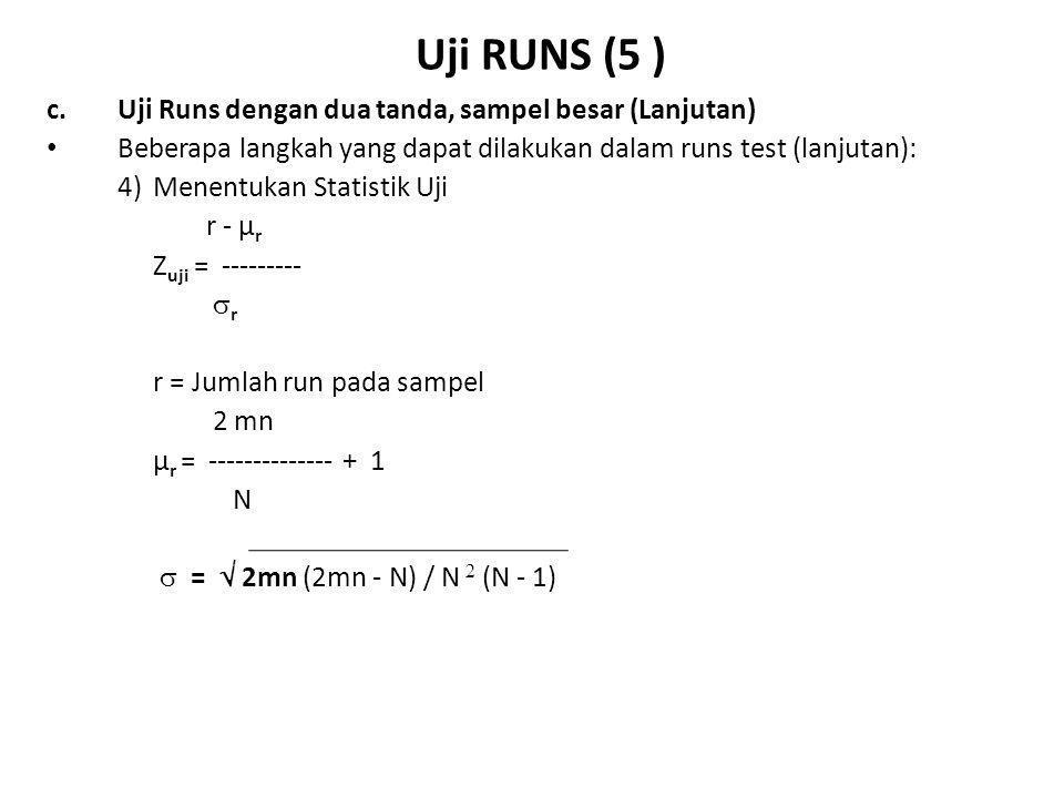 Uji RUNS (6 ) c.