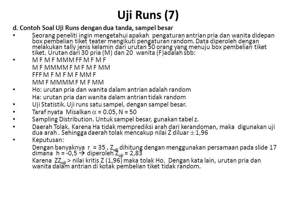 Uji Runs (8) e.