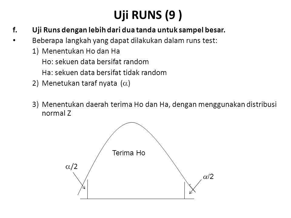 Uji RUNS (10 ) f.Uji Runs dengan lebih dari dua tanda, sampel besar Beberapa langkah yang dapat dilakukan dalam runs test (lanjutan): 4)Menentukan Statistik Uji (r  0,5) - µ r {N(N +1) -  n i 2 } Z uji = ---------------- µ r = --------------------  r N  r =  [  n i 2 [  n i 2 + N (N+!) – 2N  n i 3 - N 3 ]/N 2 (N-1)  0,5 = faktor koreksi kontinuitas + jika r < µ r - jika r > µ r µ r = jumlah run yang diharapkan  r = deviasi standar dari µ r N= pengamatan n i = jumlah tanda ke i