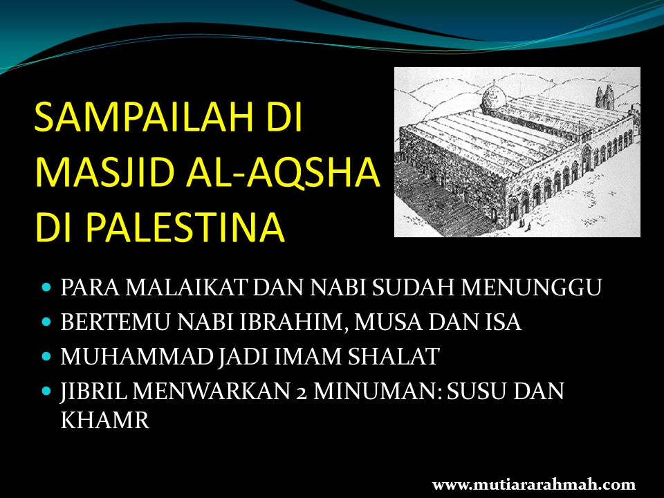 SAMPAILAH DI MASJID AL-AQSHA DI PALESTINA PARA MALAIKAT DAN NABI SUDAH MENUNGGU BERTEMU NABI IBRAHIM, MUSA DAN ISA MUHAMMAD JADI IMAM SHALAT JIBRIL ME