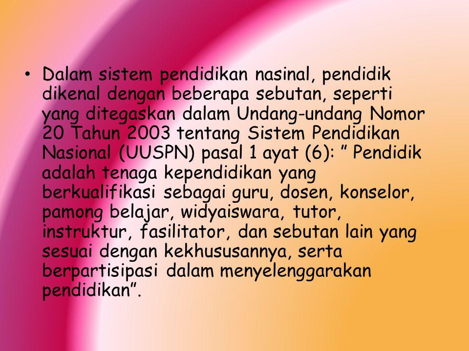 Dalam sistem pendidikan nasinal, pendidik dikenal dengan beberapa sebutan, seperti yang ditegaskan dalam Undang-undang Nomor 20 Tahun 2003 tentang Sis