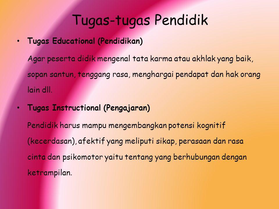 Tugas-tugas Pendidik Tugas Educational (Pendidikan) Agar peserta didik mengenal tata karma atau akhlak yang baik, sopan santun, tenggang rasa, menghar