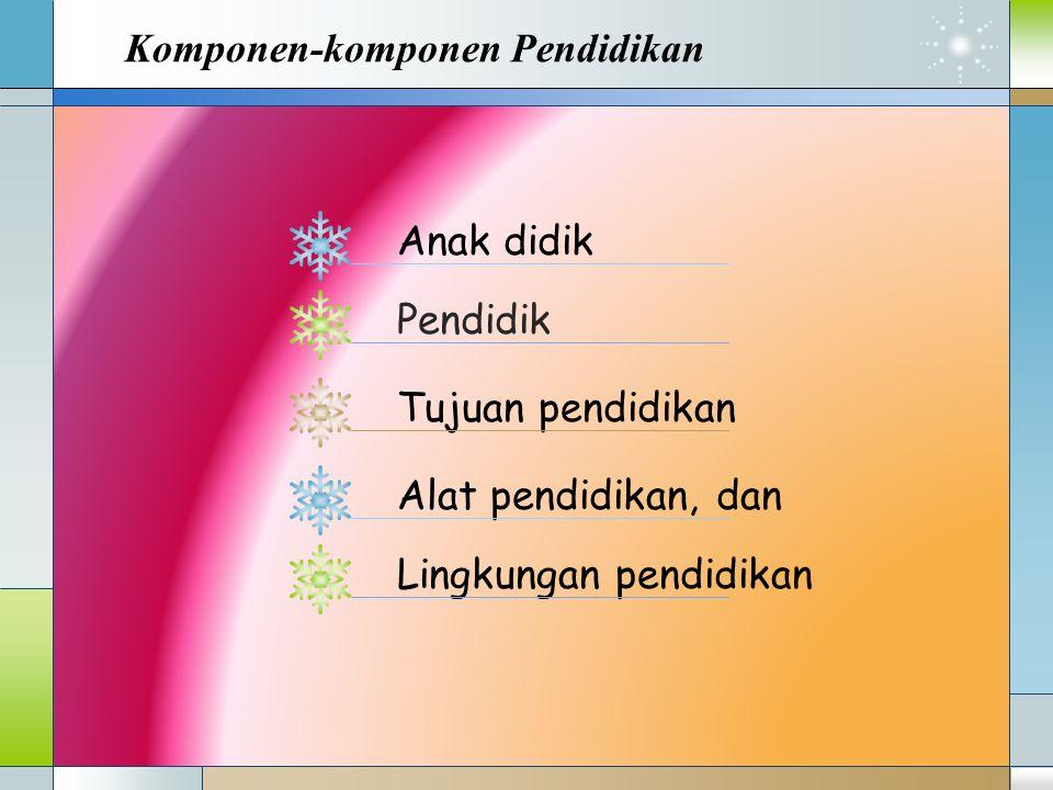 Komponen-komponen Pendidikan Anak didik Pendidik Tujuan pendidikan Alat pendidikan, dan Lingkungan pendidikan