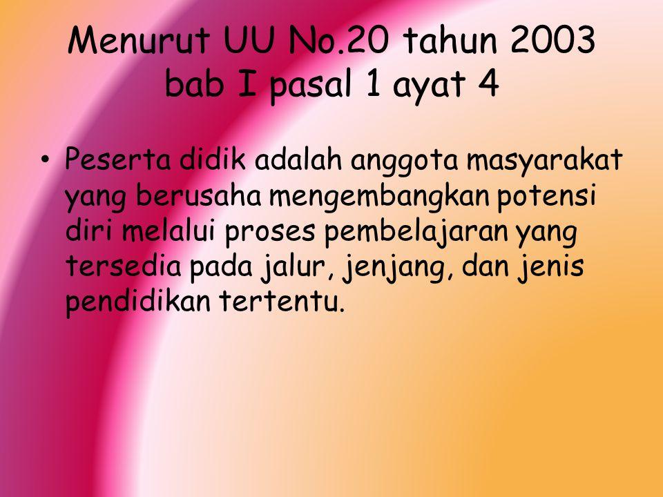 Menurut UU No.20 tahun 2003 bab I pasal 1 ayat 4 Peserta didik adalah anggota masyarakat yang berusaha mengembangkan potensi diri melalui proses pembe