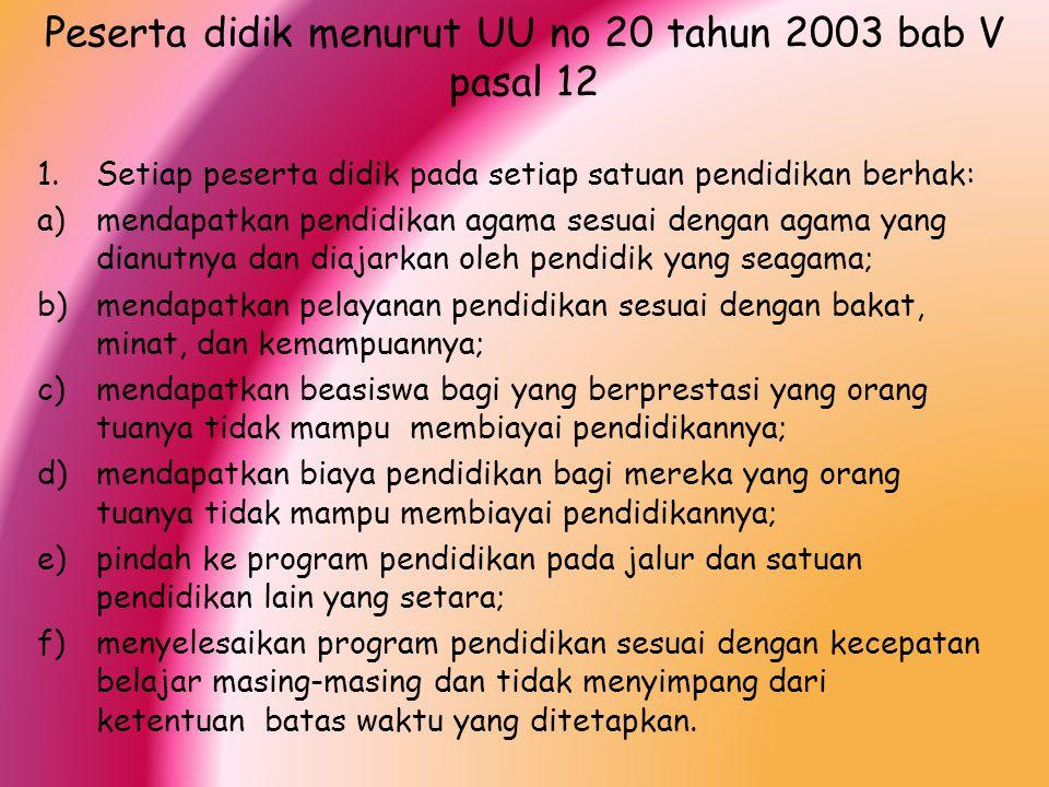 Peserta didik menurut UU no 20 tahun 2003 bab V pasal 12 1.Setiap peserta didik pada setiap satuan pendidikan berhak: a)mendapatkan pendidikan agama s
