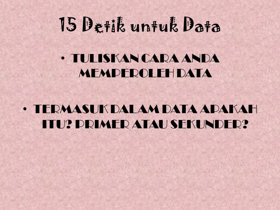 15 Detik untuk Data TULISKAN CARA ANDA MEMPEROLEH DATA TERMASUK DALAM DATA APAKAH ITU.