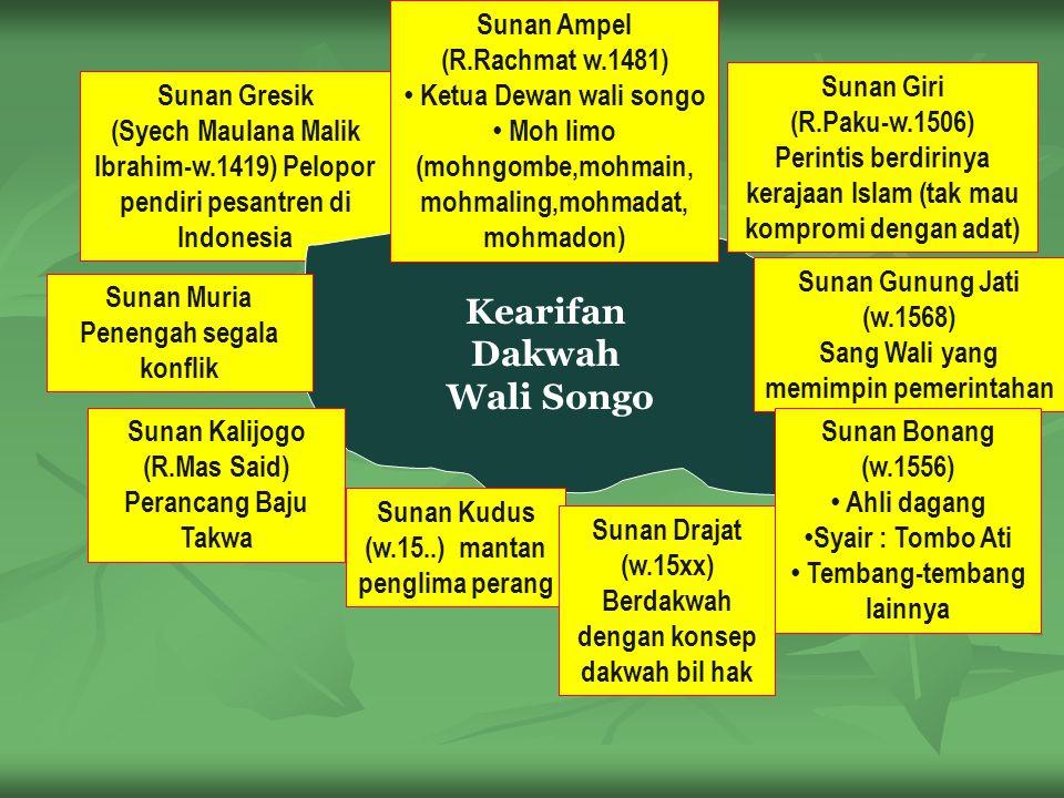 Sunan Gresik (Syech Maulana Malik Ibrahim-w.1419) Pelopor pendiri pesantren di Indonesia Kearifan Dakwah Wali Songo Sunan Ampel (R.Rachmat w.1481) Ketua Dewan wali songo Moh limo (mohngombe,mohmain, mohmaling,mohmadat, mohmadon) Sunan Giri (R.Paku-w.1506) Perintis berdirinya kerajaan Islam (tak mau kompromi dengan adat) Sunan Gunung Jati (w.1568) Sang Wali yang memimpin pemerintahan Sunan Bonang (w.1556) Ahli dagang Syair : Tombo Ati Tembang-tembang lainnya Sunan Muria Penengah segala konflik Sunan Kalijogo (R.Mas Said) Perancang Baju Takwa Sunan Kudus (w.15..) mantan penglima perang Sunan Drajat (w.15xx) Berdakwah dengan konsep dakwah bil hak