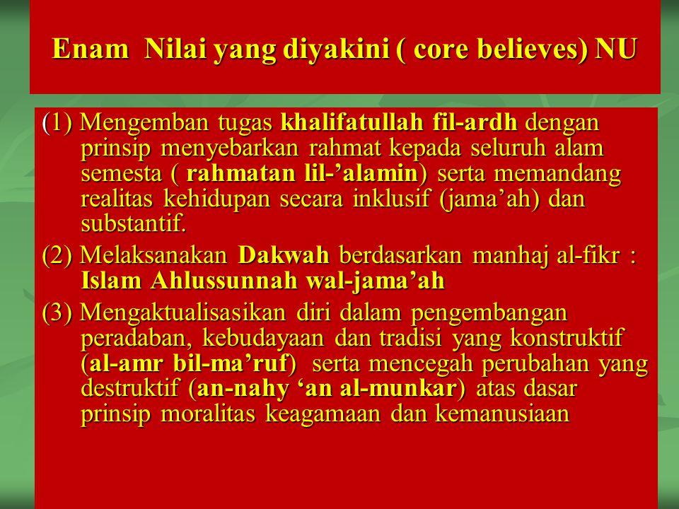 (1) Mengemban tugas khalifatullah fil-ardh dengan prinsip menyebarkan rahmat kepada seluruh alam semesta ( rahmatan lil-'alamin) serta memandang reali