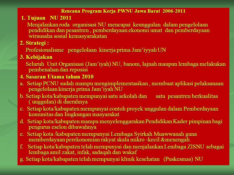 Rencana Program Kerja PWNU Jawa Barat 2006-2011 1. Tujuan NU 2011 1. Tujuan NU 2011 Menjalankan roda organisasi NU mencapai keunggulan dalam pengelola
