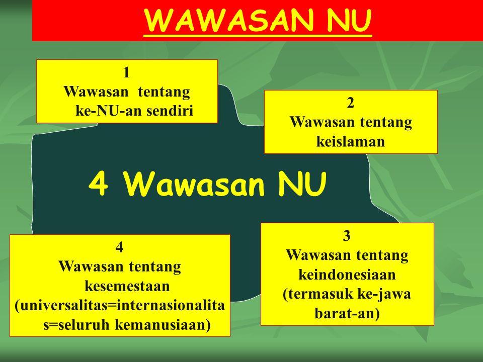 4 Wawasan NU WAWASAN NU 1 Wawasan tentang ke-NU-an sendiri 2 Wawasan tentang keislaman 4 Wawasan tentang kesemestaan (universalitas=internasionalita s=seluruh kemanusiaan) 3 Wawasan tentang keindonesiaan (termasuk ke-jawa barat-an)
