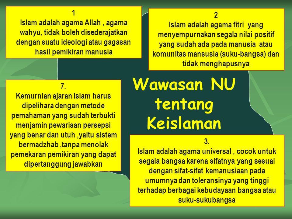 Wawasan NU tentang Keislaman 1 Islam adalah agama Allah, agama wahyu, tidak boleh disederajatkan dengan suatu ideologi atau gagasan hasil pemikiran ma