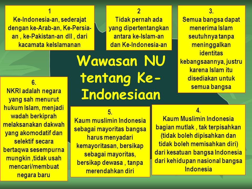Wawasan NU tentang Ke- Indonesiaan 1 Ke-Indonesia-an, sederajat dengan ke-Arab-an, Ke-Persia- an, ke-Pakistan-an dll, dari kacamata keIslamanan 3. Sem