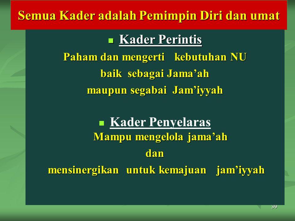 39 Semua Kader adalah Pemimpin Diri dan umat Kader Perintis Kader Perintis Paham dan mengerti kebutuhan NU baik sebagai Jama'ah maupun segabai Jam'iyy