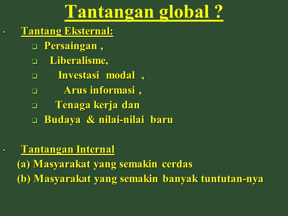 Tantangan global ? Tantang Eksternal: Tantang Eksternal:  Persaingan,  Liberalisme,  Investasi modal,  Arus informasi,  Tenaga kerja dan  Budaya