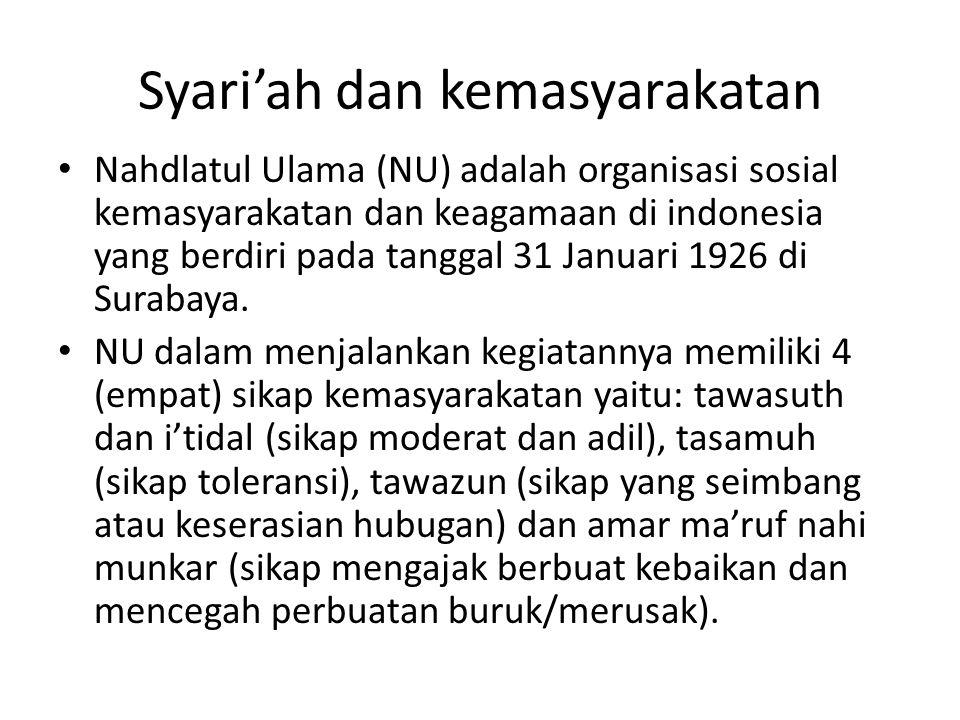 Syari'ah dan kemasyarakatan Nahdlatul Ulama (NU) adalah organisasi sosial kemasyarakatan dan keagamaan di indonesia yang berdiri pada tanggal 31 Janua
