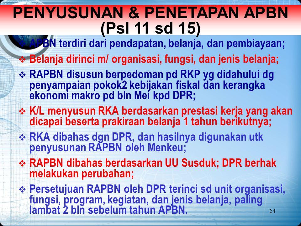 24 PENYUSUNAN & PENETAPAN APBN (Psl 11 sd 15)  APBN terdiri dari pendapatan, belanja, dan pembiayaan;  Belanja dirinci m/ organisasi, fungsi, dan je