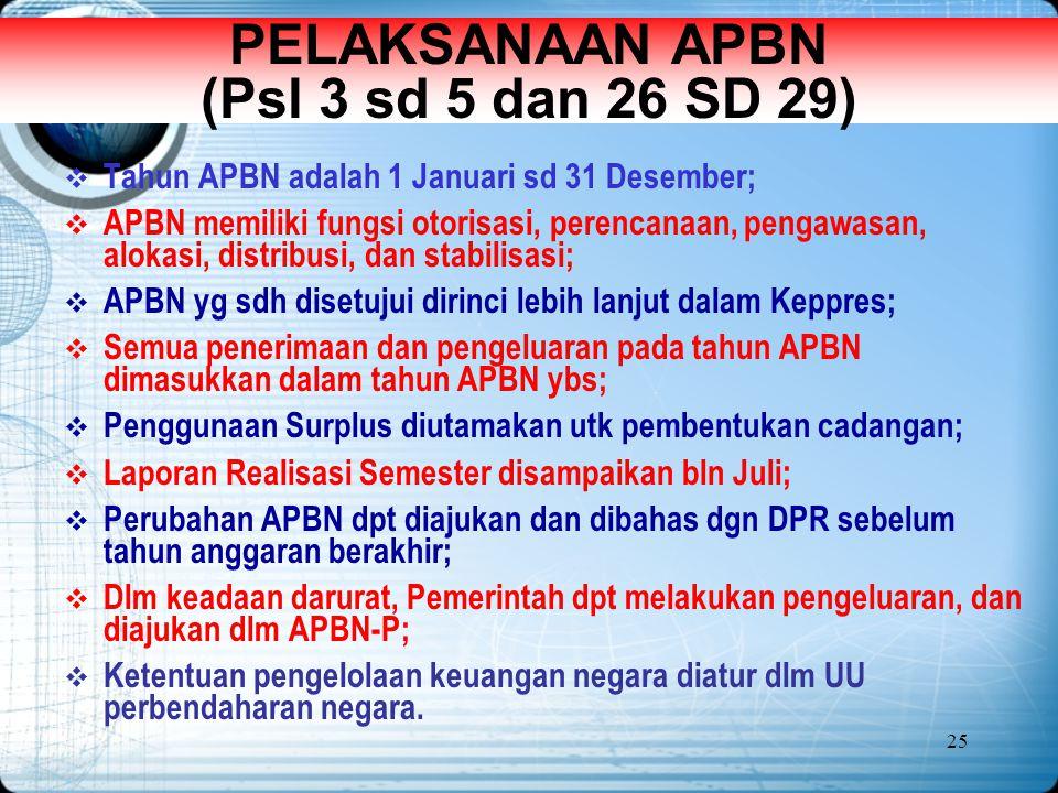 25 PELAKSANAAN APBN (Psl 3 sd 5 dan 26 SD 29)  Tahun APBN adalah 1 Januari sd 31 Desember;  APBN memiliki fungsi otorisasi, perencanaan, pengawasan,