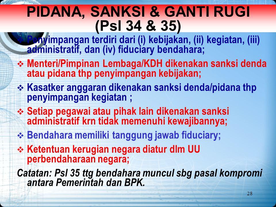28 PIDANA, SANKSI & GANTI RUGI (Psl 34 & 35)  Penyimpangan terdiri dari (i) kebijakan, (ii) kegiatan, (iii) administratif, dan (iv) fiduciary bendaha