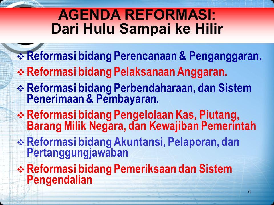 6 AGENDA REFORMASI: Dari Hulu Sampai ke Hilir  Reformasi bidang Perencanaan & Penganggaran.  Reformasi bidang Pelaksanaan Anggaran.  Reformasi bida