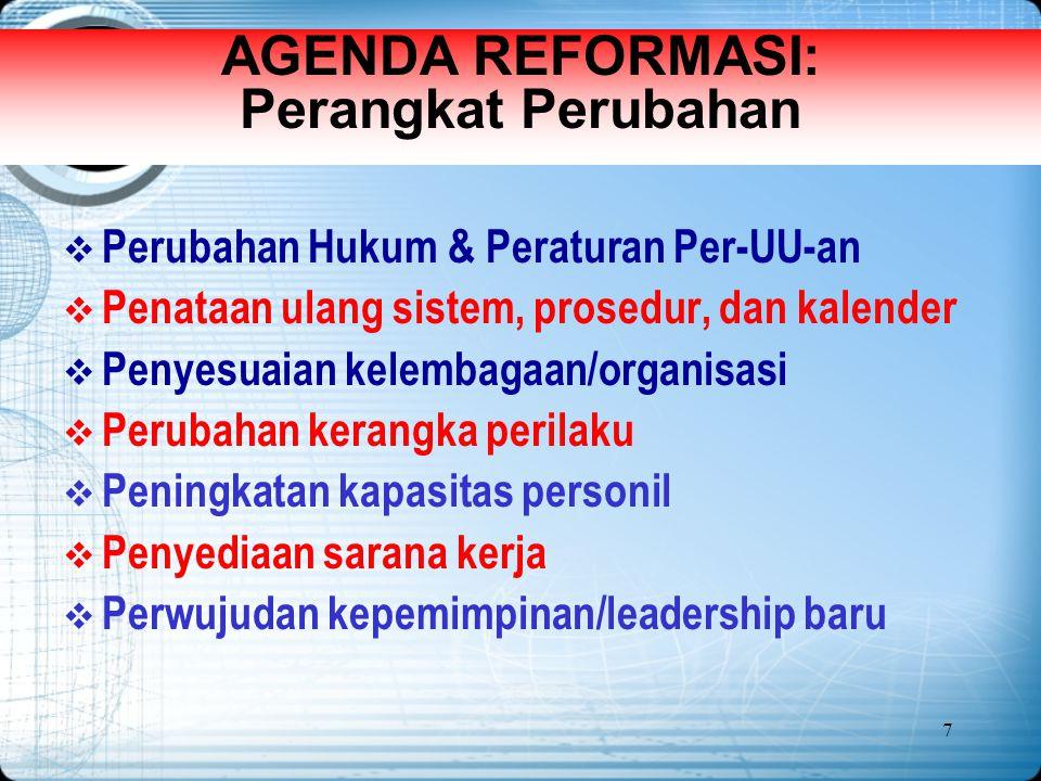 7 AGENDA REFORMASI: Perangkat Perubahan  Perubahan Hukum & Peraturan Per-UU-an  Penataan ulang sistem, prosedur, dan kalender  Penyesuaian kelembag