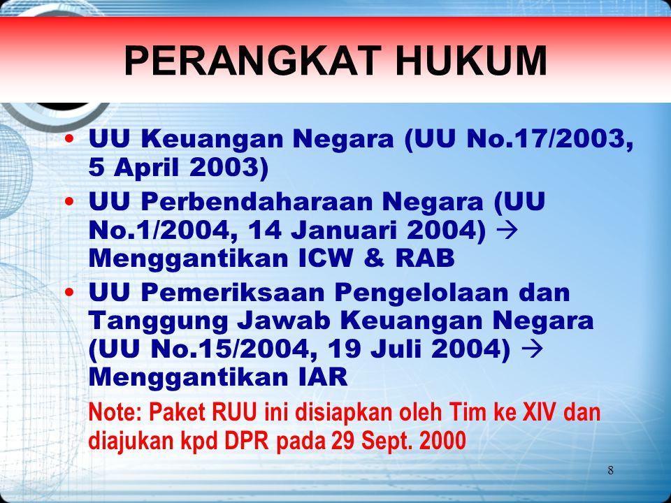 8 PERANGKAT HUKUM UU Keuangan Negara (UU No.17/2003, 5 April 2003) UU Perbendaharaan Negara (UU No.1/2004, 14 Januari 2004)  Menggantikan ICW & RAB U
