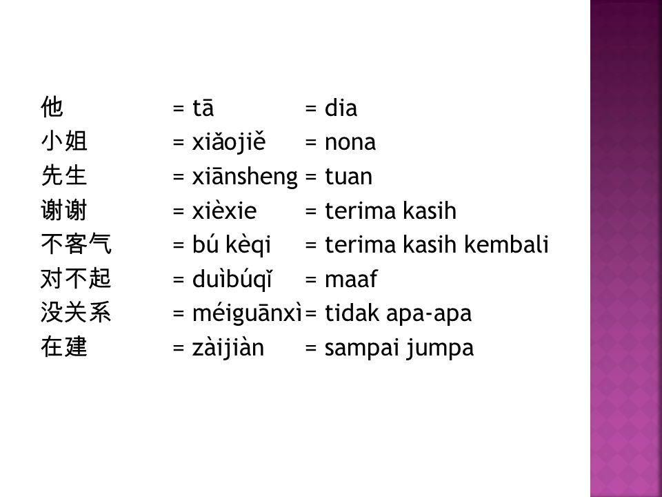 他 = tā= dia 小姐 = xi ǎ ojiě= nona 先生 = xiānsheng= tuan 谢谢 = xièxie= terima kasih 不客气 = bú kèqi= terima kasih kembali 对不起 = duìbúq ǐ = maaf 没关系 = méiguā