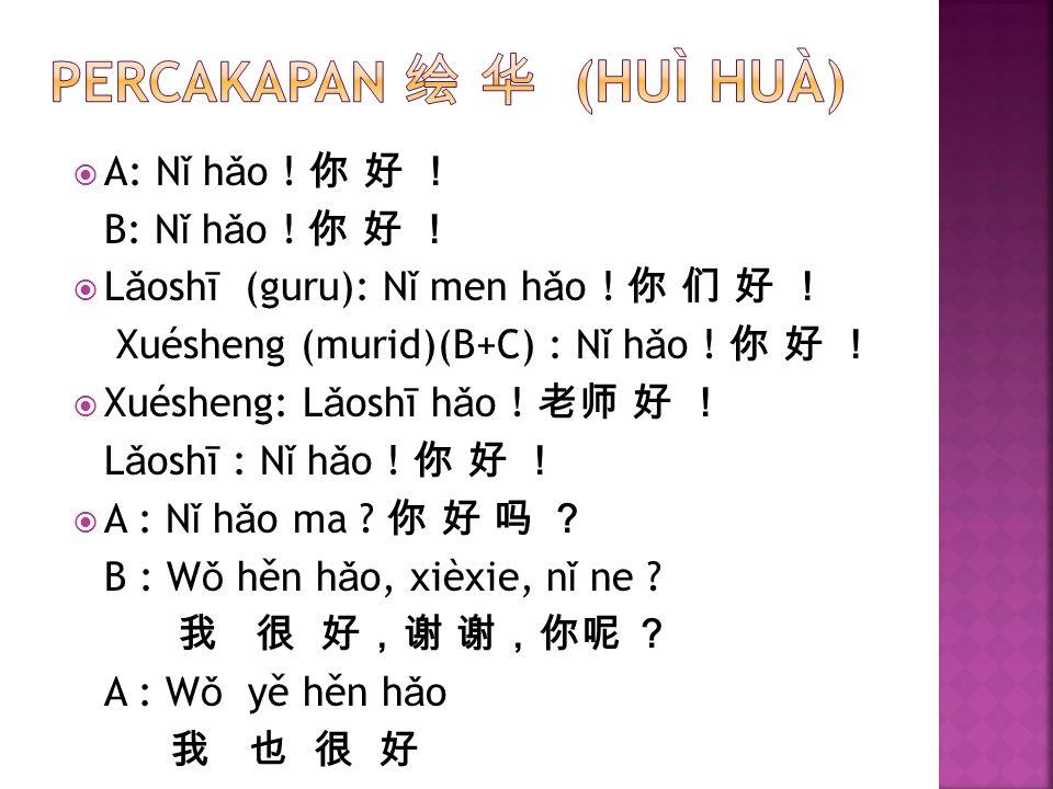  A: N ǐ h ǎ o ! 你 好 ! B: N ǐ h ǎ o ! 你 好 !  L ǎ oshī (guru): N ǐ men h ǎ o ! 你 们 好 ! Xuésheng (murid)(B+C) : N ǐ h ǎ o ! 你 好 !  Xuésheng: L ǎ oshī