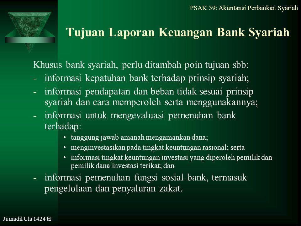 PSAK 59: Akuntansi Perbankan Syariah Jumadil Ula 1424 H Tujuan Laporan Keuangan Bank Syariah Khusus bank syariah, perlu ditambah poin tujuan sbb: - in