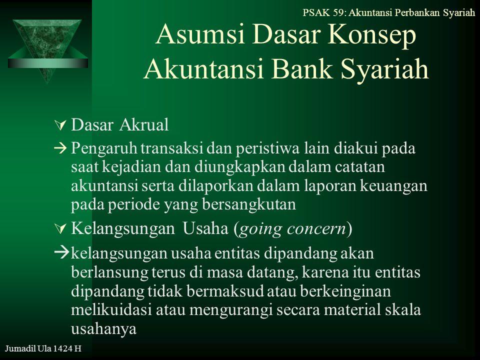 PSAK 59: Akuntansi Perbankan Syariah Jumadil Ula 1424 H Asumsi Dasar Konsep Akuntansi Bank Syariah  Dasar Akrual  Pengaruh transaksi dan peristiwa l