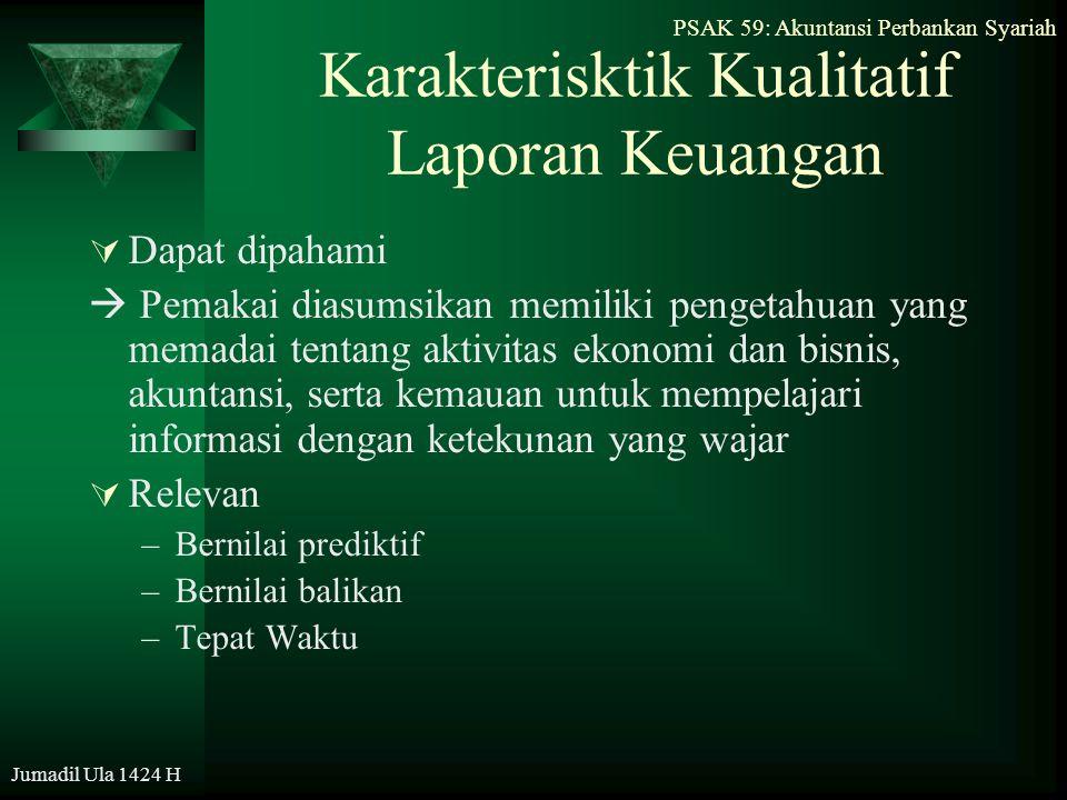 PSAK 59: Akuntansi Perbankan Syariah Jumadil Ula 1424 H Karakterisktik Kualitatif Laporan Keuangan  Dapat dipahami  Pemakai diasumsikan memiliki pen