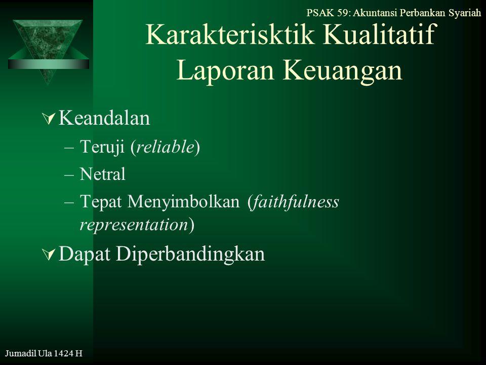 PSAK 59: Akuntansi Perbankan Syariah Jumadil Ula 1424 H Karakterisktik Kualitatif Laporan Keuangan  Keandalan –Teruji (reliable) –Netral –Tepat Menyi