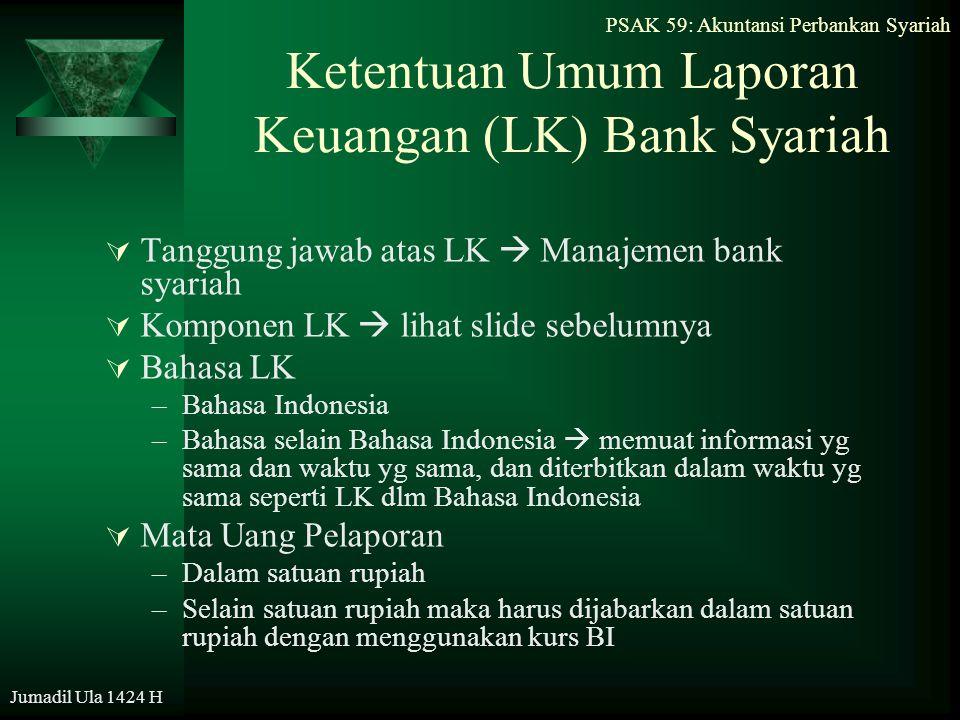 PSAK 59: Akuntansi Perbankan Syariah Jumadil Ula 1424 H Ketentuan Umum Laporan Keuangan (LK) Bank Syariah  Tanggung jawab atas LK  Manajemen bank sy