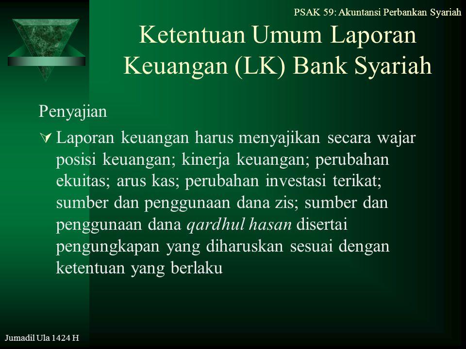 PSAK 59: Akuntansi Perbankan Syariah Jumadil Ula 1424 H Ketentuan Umum Laporan Keuangan (LK) Bank Syariah Penyajian  Laporan keuangan harus menyajika