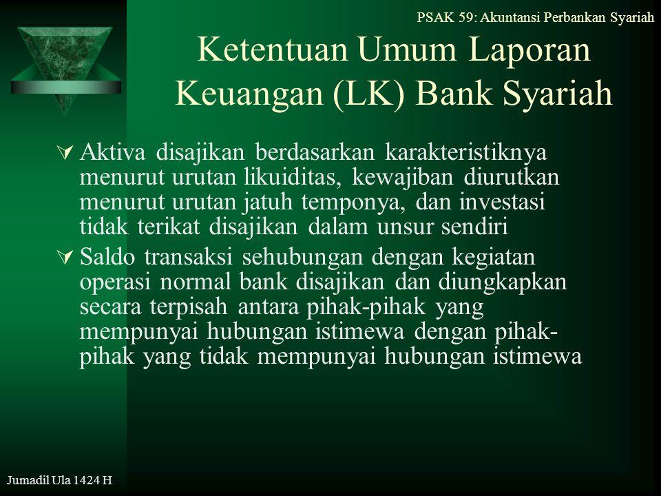 PSAK 59: Akuntansi Perbankan Syariah Jumadil Ula 1424 H Ketentuan Umum Laporan Keuangan (LK) Bank Syariah  Aktiva disajikan berdasarkan karakteristik