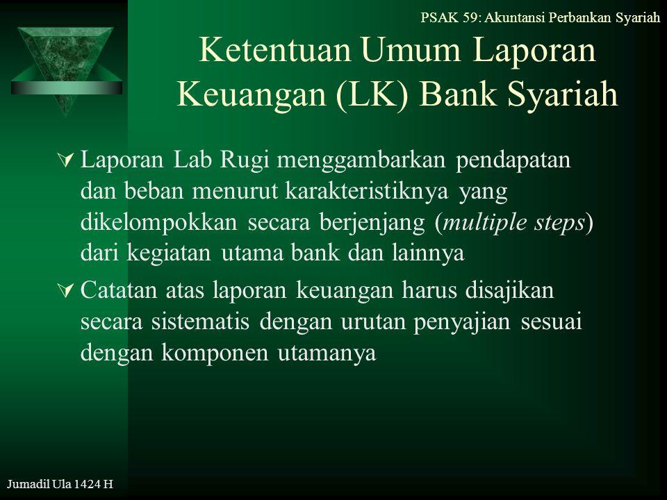 PSAK 59: Akuntansi Perbankan Syariah Jumadil Ula 1424 H Ketentuan Umum Laporan Keuangan (LK) Bank Syariah  Laporan Lab Rugi menggambarkan pendapatan