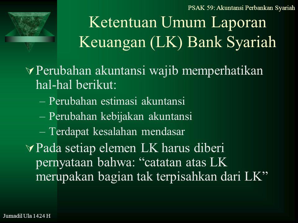 PSAK 59: Akuntansi Perbankan Syariah Jumadil Ula 1424 H Ketentuan Umum Laporan Keuangan (LK) Bank Syariah  Perubahan akuntansi wajib memperhatikan ha