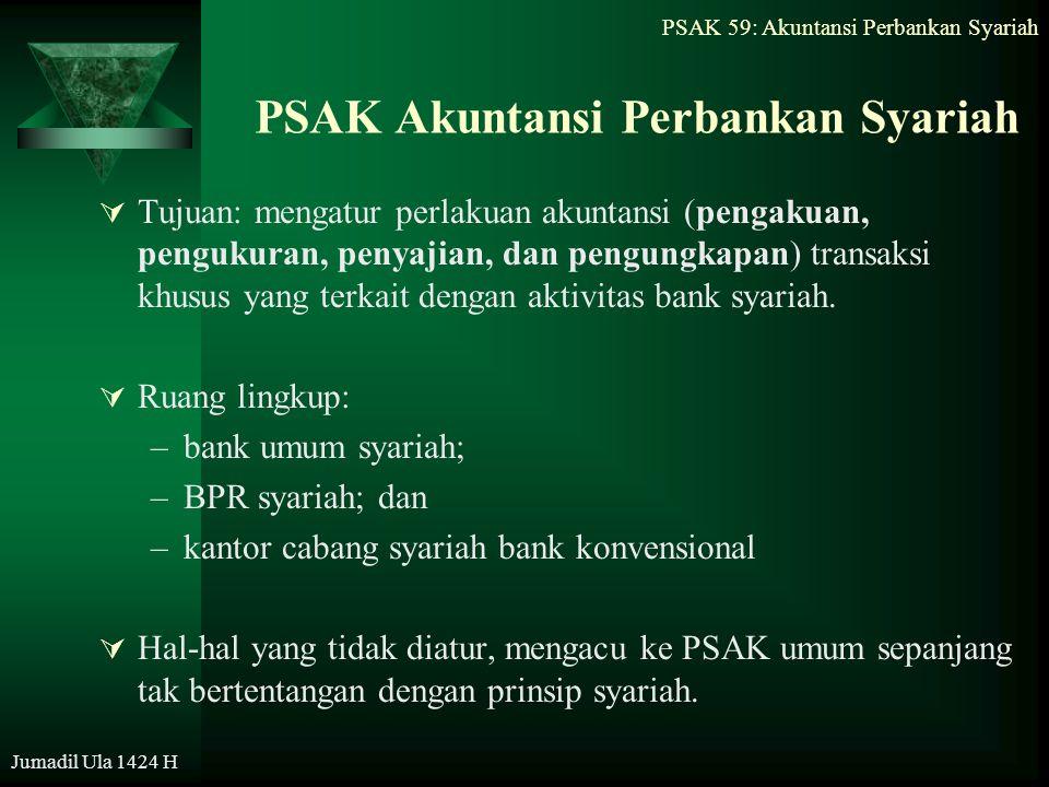 PSAK 59: Akuntansi Perbankan Syariah Jumadil Ula 1424 H PSAK Akuntansi Perbankan Syariah  Tujuan: mengatur perlakuan akuntansi (pengakuan, pengukuran