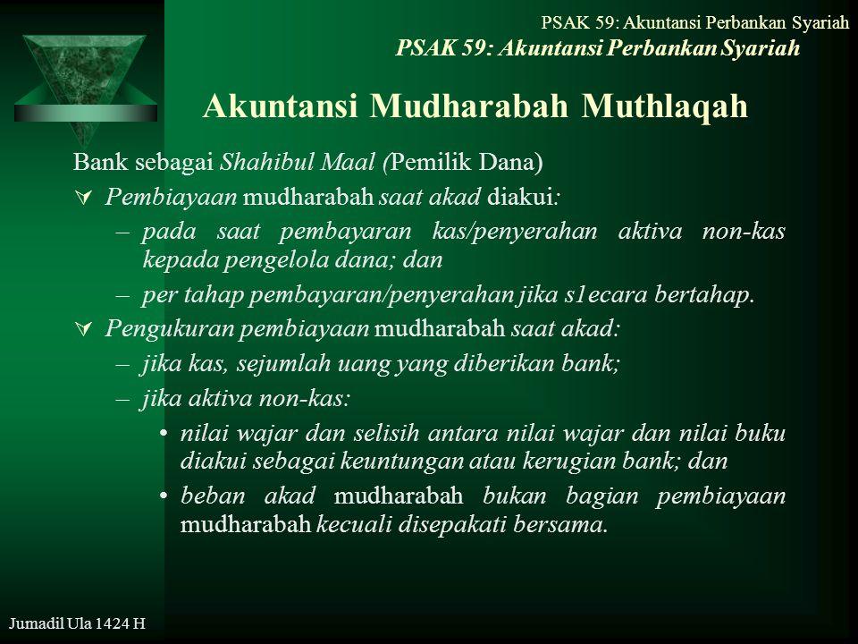 PSAK 59: Akuntansi Perbankan Syariah Jumadil Ula 1424 H Akuntansi Mudharabah Muthlaqah Bank sebagai Shahibul Maal (Pemilik Dana)  Pembiayaan mudharab