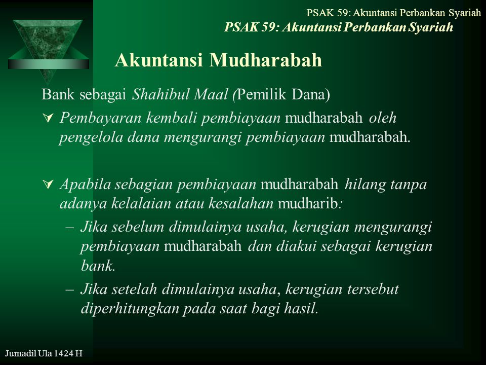 Jumadil Ula 1424 H Akuntansi Mudharabah Bank sebagai Shahibul Maal (Pemilik Dana)  Pembayaran kembali pembiayaan mudharabah oleh pengelola dana mengu