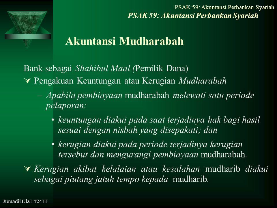 Jumadil Ula 1424 H Akuntansi Mudharabah Bank sebagai Shahibul Maal (Pemilik Dana)  Pengakuan Keuntungan atau Kerugian Mudharabah –Apabila pembiayaan